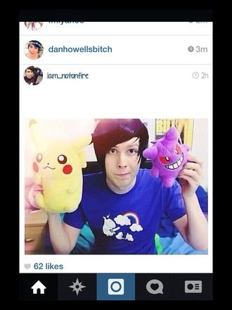 t-shirt amazing phil youtuber unicorn tee rainbow blue shirt