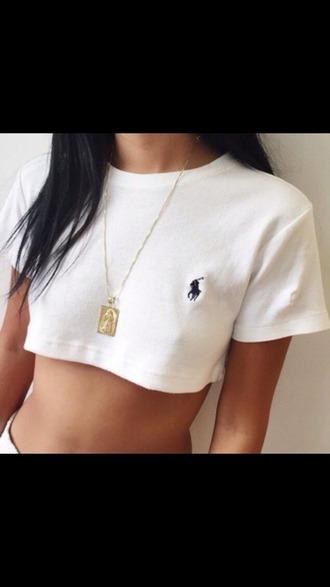 shirt white crop tops