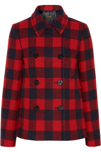 J.Crew | Buffalo plaid wool peacoat | NET-A-PORTER.COM