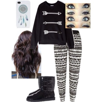 white leggings sweater iphone 5 case make-up ugg boots arrows pants