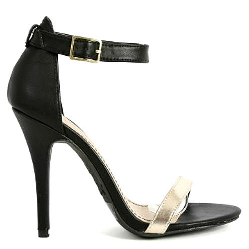 01 black gold open toe pump stiletto heel