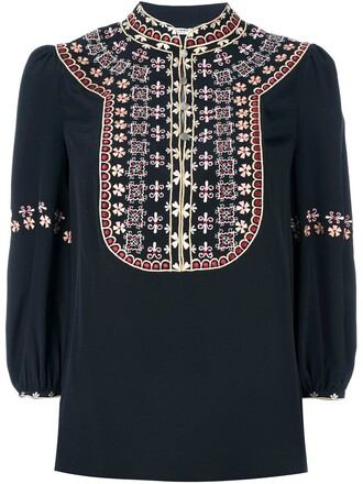 blouse embroidered black top