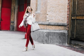 gbo fashion blogger sweater pants shoes scarf bag givenchy bag handbag red pants ankle boots winter outfits fall outfits