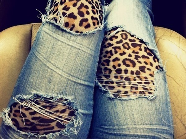 jeans ripped denim leopard print torn pants clothes ripped jeans leopard print animal print blue under leopard print light