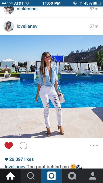 top pants liane v ripped jeans white ripped jeans blue shirt