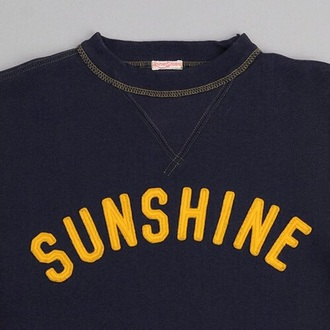 shirt navy yellow navy shirt sunshine yellow letters crewneck
