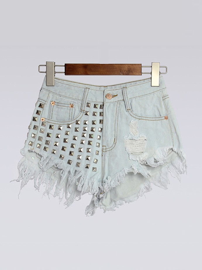 Frayed Holes Rivet High Waist Denim Shorts with Irregular Tassel Plus Size - WSDear.com