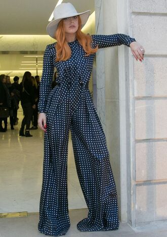 pants lady gaga high waisted wide-leg pants polka dots