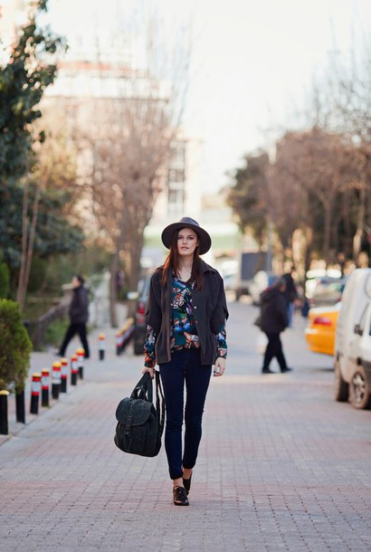 the bow-tie blogger blouse coat jeans hat