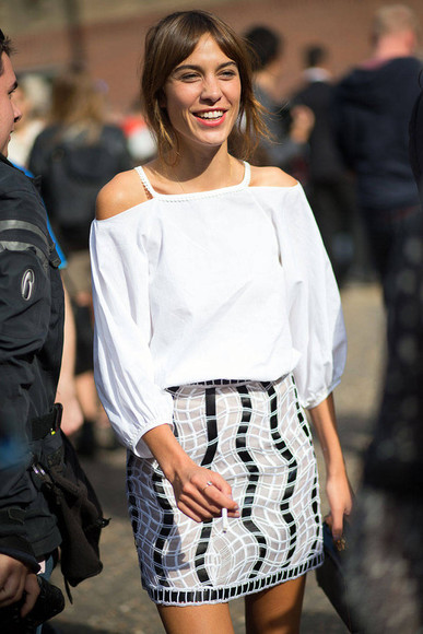 alexa chung skirt fashion week 2014 streetstyle