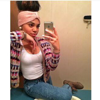 cardigan pink sweater hair headband turban pretty brown burgundy iphone biege shirt hair accessory