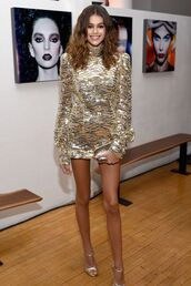 dress,gold sequins,gold dress,kaia gerber,model,mini dress,sandals