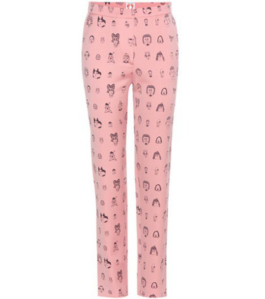 Shrimps Andre Wool Printed Trousers in pink