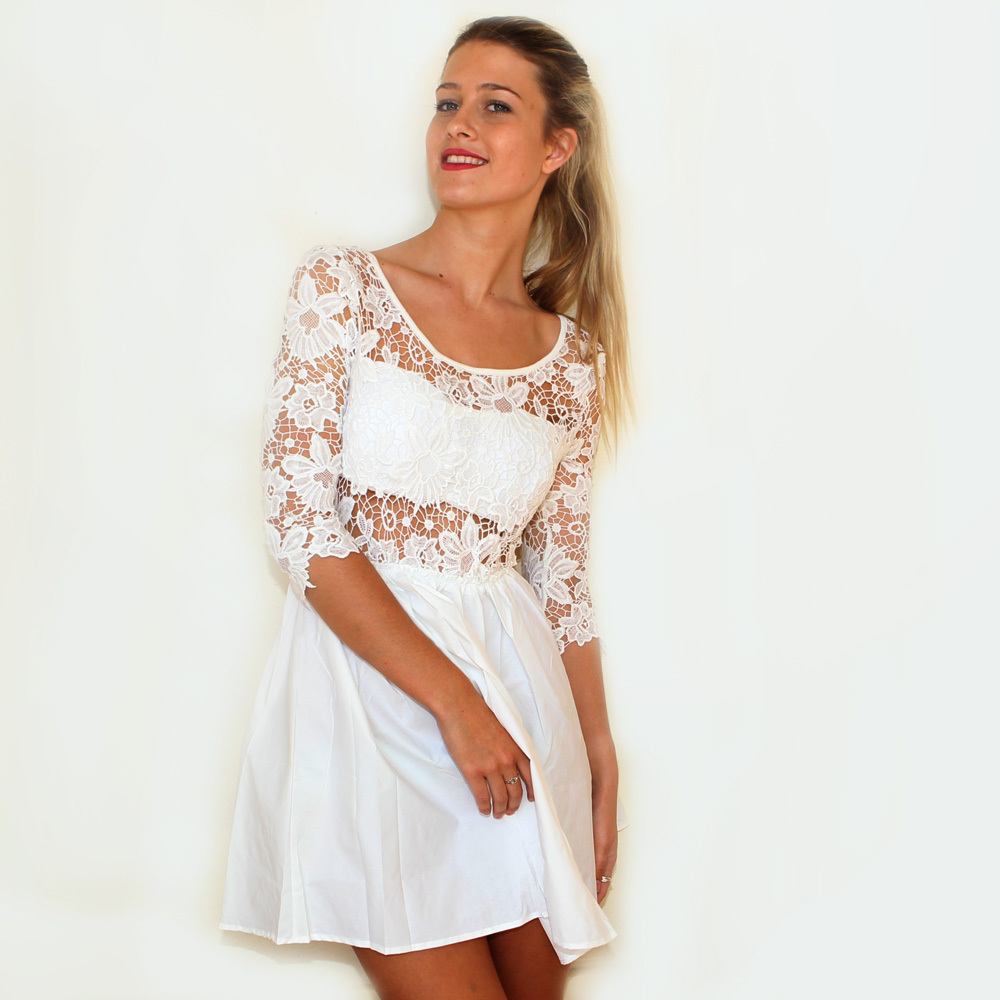 Hermoso Crochet Skater Dress in White / Boutique By Bel