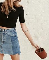 skirt,denim skirt,mini skirt,brown leather bag,mini bag,summer bag,frayed denim,cropped t-shirt,black t-shirt,tattoo,summer outfits