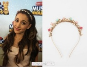 jewels,ariana grande,flowers,hair accessory,headband,head,Accessory,pink,fashion accessory