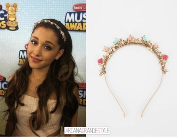 jewels accessory pink flowers headband ariana grande hairband head fashion accessory