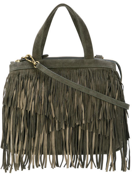 Cotélac - fringed top-handle tote - women - Calf Leather - One Size, Green, Calf Leather