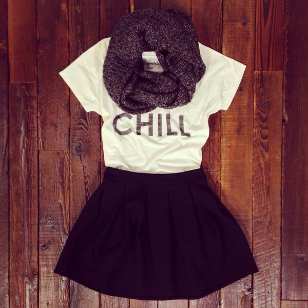 skirt black skirt scarf shirt t-shirt chill latter letters casual blouse leather skirt white t-shirt purple scarf