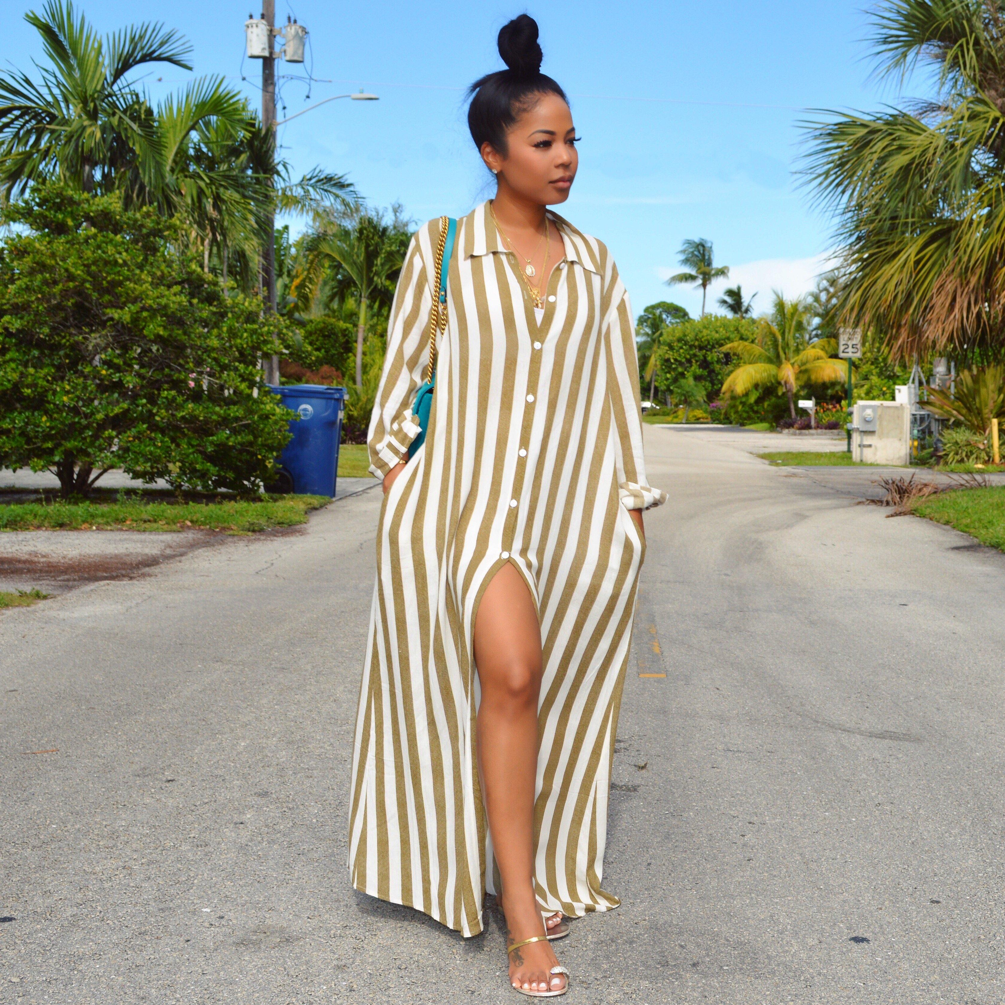 Stripe Goddess Gown