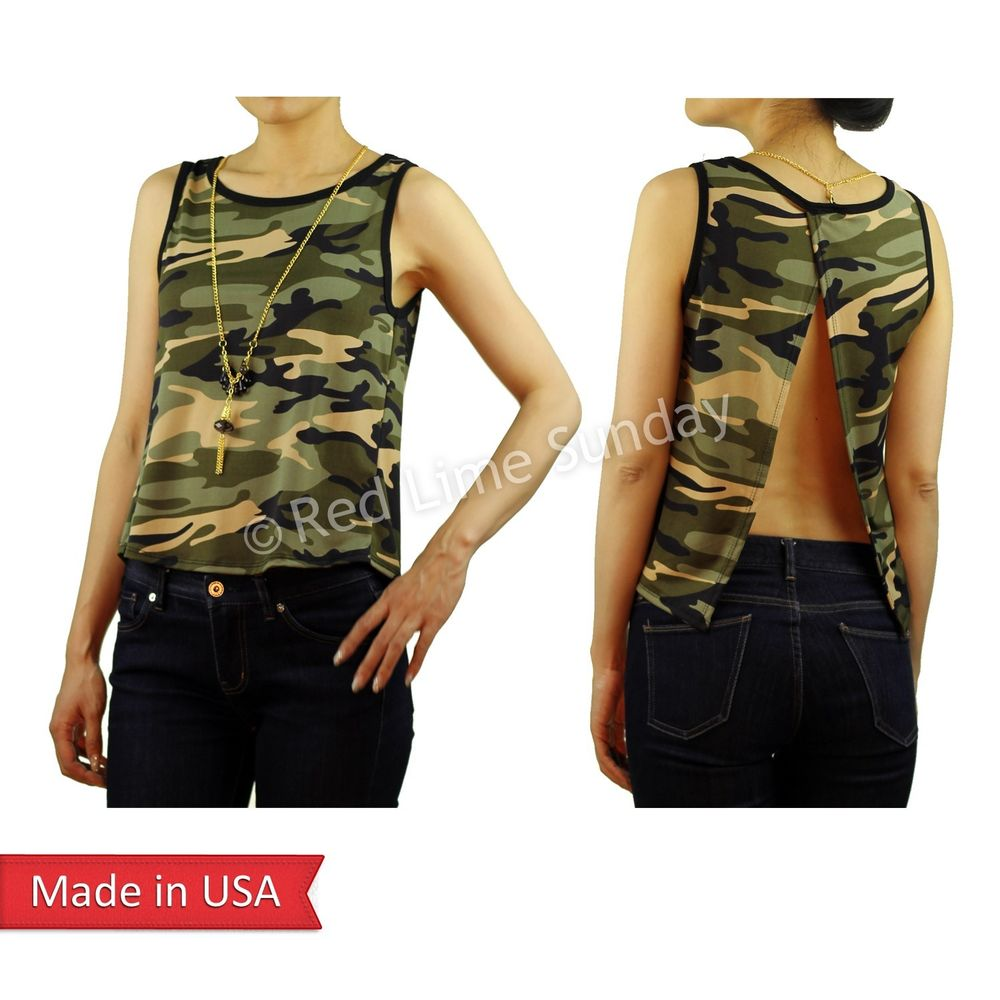 Camouflage camo army green print tank top w/ open back gold long necklace usa