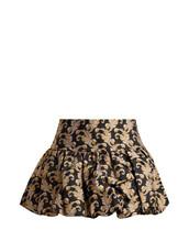 skirt,mini skirt,mini,jacquard,gold,black