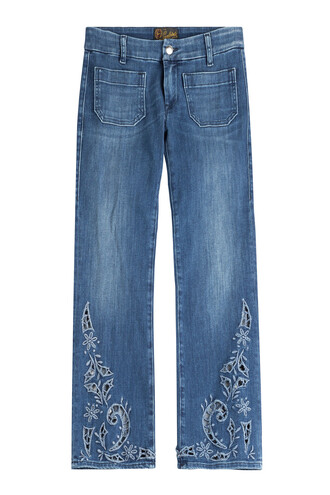 jeans cropped jeans cut-out cropped blue