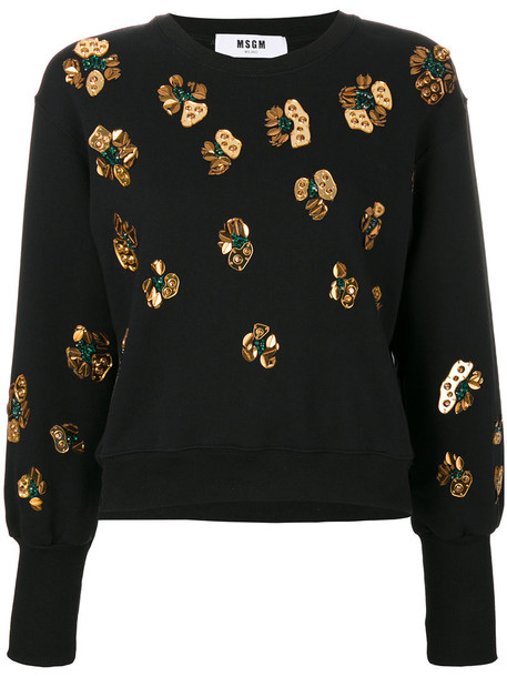 MSGM - embroidered pull-over sweater - women - Cotton - S, Black, Cotton