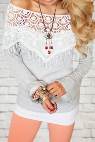 top white grey lace fashion style cute girly sweater fall outfits long sleeves adorable outfit off the shoulder romantic embroidered clothes casual fringes trendy