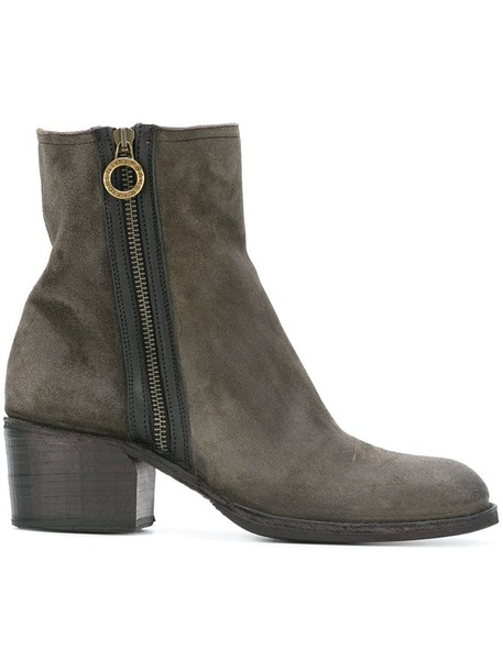 zip women ankle boots leather suede grey shoes