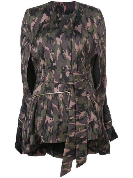 Thomas Wylde coat camouflage coat women camouflage spandex cotton silk green