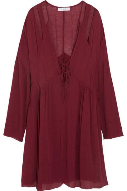 IRO - Enya Cutout Gauze Mini Dress - Burgundy