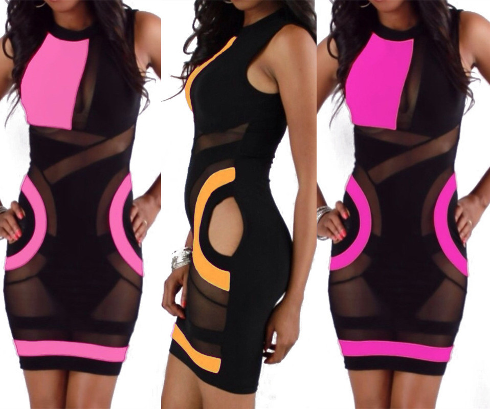 New Summer Fashion Women Dress Hollow Out Patchwork Sleeveless Club Party Casual Slim Bodycon Bandage Dresses 4308 | Amazing Shoes UK