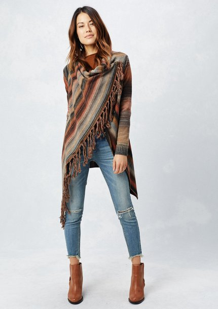 Sweater Asymmetrical Cardigan Cowl Neck Cowl Neck Sweater Fringe