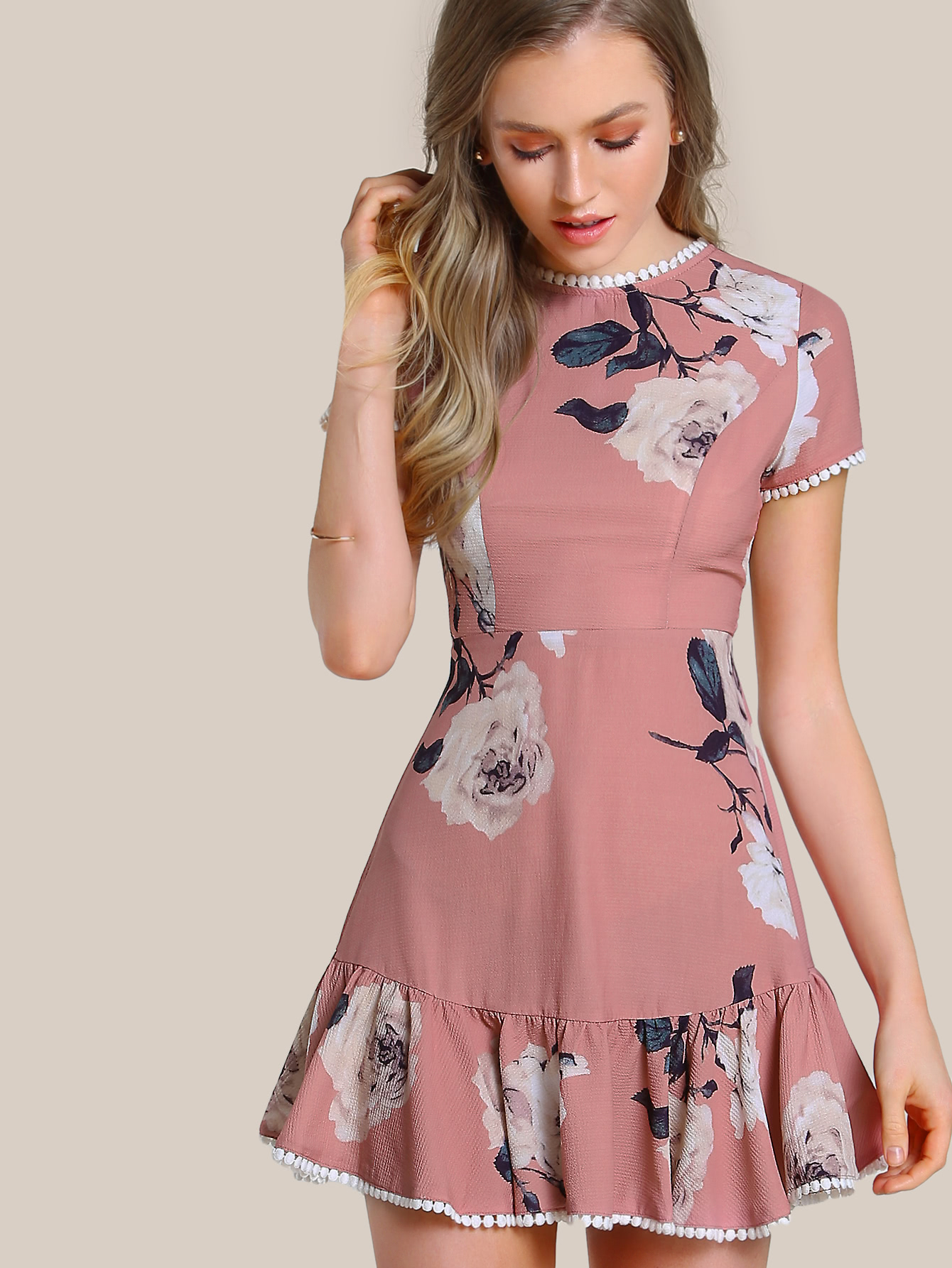c9fd218699 Floral Print Shirred Top Maxi Dress MAUVE -SheIn(Sheinside)