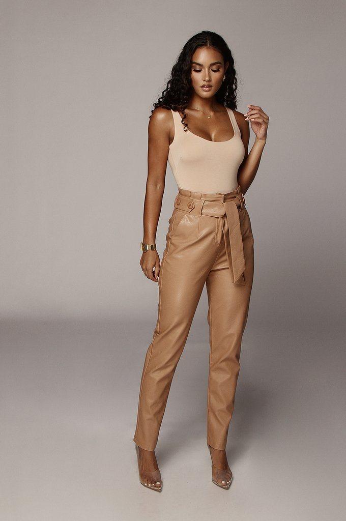 Caramel Faux Leather Trouser