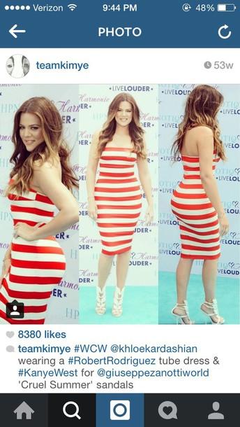 khloe kardashian striped dress bustier dress