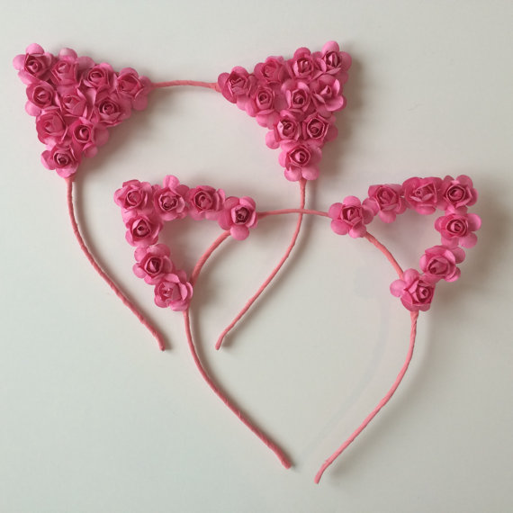 Pink flower cat ears headband cat ears floral cat ears festival pink flower cat ears headband cat ears floral cat ears festivalddc ariana grande cat ears mightylinksfo