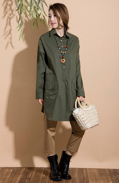 shirt woman shirt army green jacket