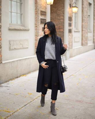 coat tumblr blue coat navy sweater grey sweater denim jeans black jeans boots grey boots ankle boots