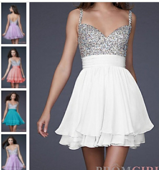 glitter sparkling prom white dress short