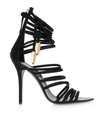 Real photo!chic black suede high heel sandals strappy sandals mortisia leather sandals nubuck gladiator heels