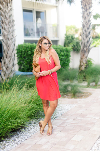shop dandy blogger dress shoes bag sunglasses jewels red dress mini dress nude sandals aviator sunglasses clutch red mini dress short dress summer dress summer outfits mirrored sunglasses pouch brown bag sandals flat sandals