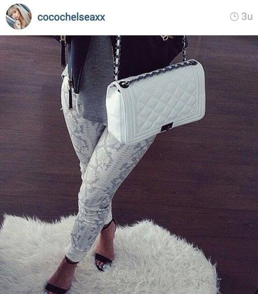 pants snake print fall outfits snakeprint snakeskin pants jeans instagram fur or nah?