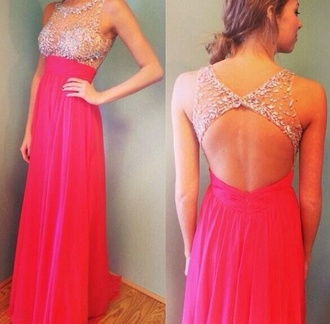 dress pink dress pink prom dress long prom dress see through open back open back dresses rhinestones backless prom dress prom sequence