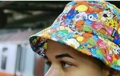 hat,pokemon,bucket hat,tumblr,rainbow,colorful,grunge,soft grunge,anime,printed bucket hat