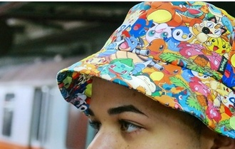 hat pokemon bucket hat tumblr rainbow colorful grunge soft grunge anime printed bucket hat