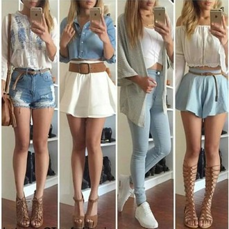 mini skirt white skirt denim shorts button up denim top white top off the shoulder blue shorts high waisted jeans gladiators wedges lace up heels white sneakers long sleeves