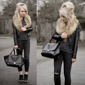 sammi jackson blogger ripped jeans striped top black bag fur scarf