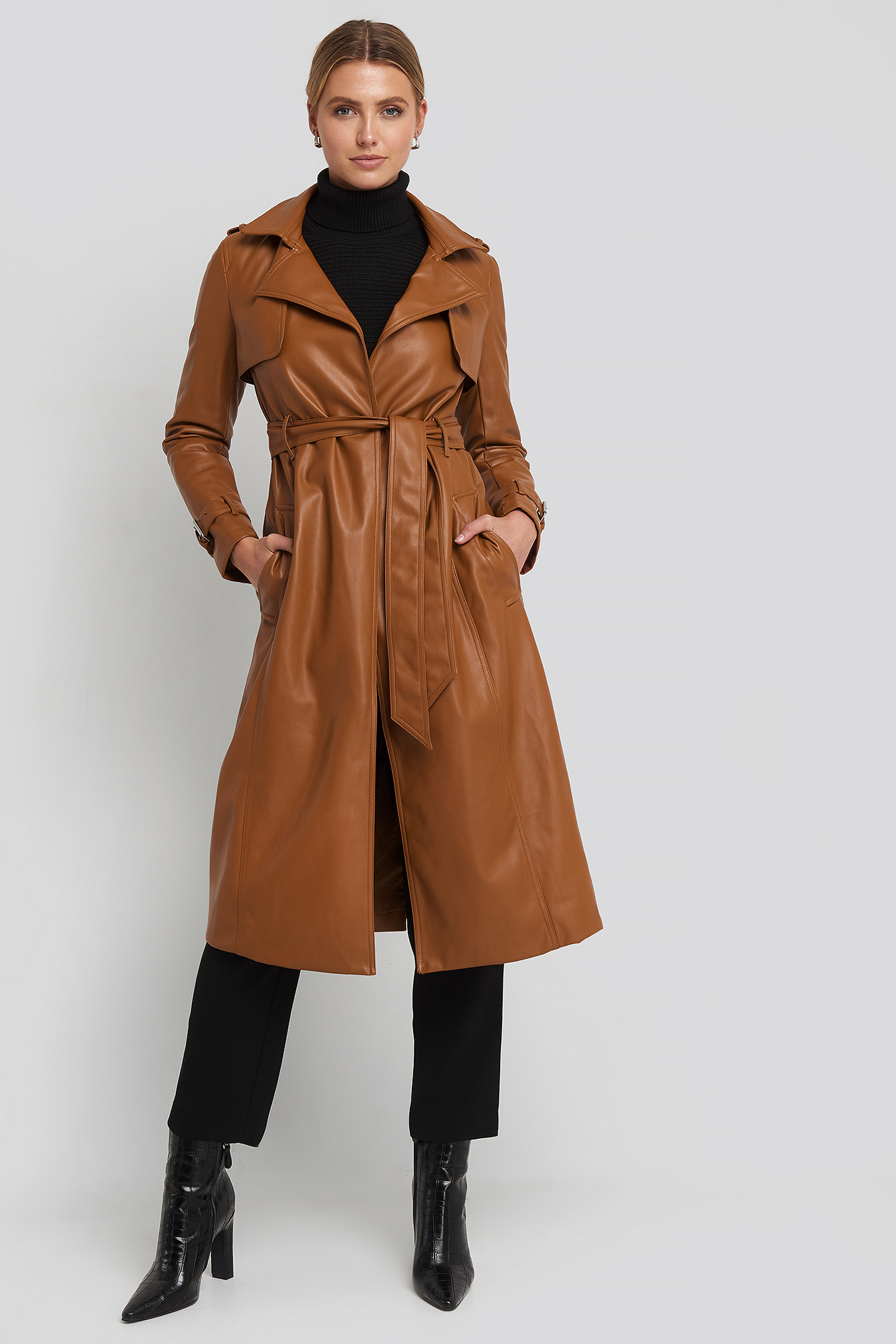 Faux Leather Trenchcoat Brown